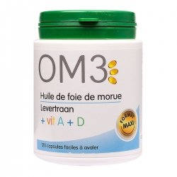 OM3 Huile de Foie de Morue Vitamine A + D  120 capsules