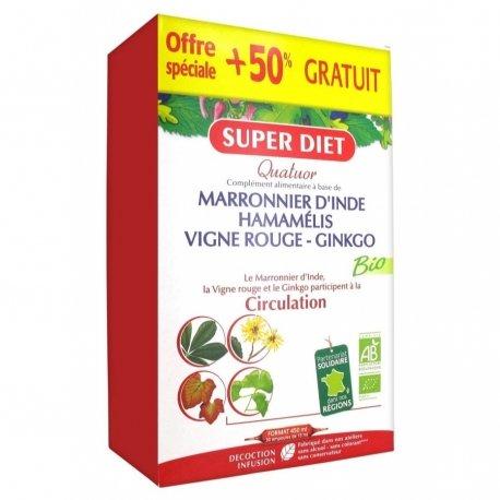 Superdiet Quatuor Vigne Rouge Circulation Bio Offre Spéciale 20 ampoules de 15ml + 10 OFFERTES