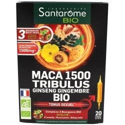Santarome Bio Maca 1500 Tribulus Ginseng Gingembre Bio 20 ampoules