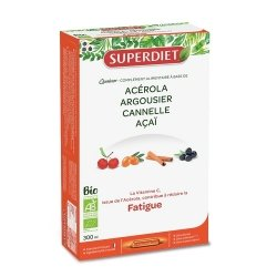 Superdiet Quatuor Acérola Fatigue Bio 20 ampoules de 15ml