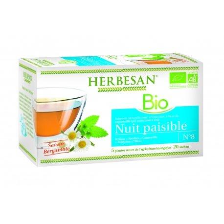 Herbesan Bio Infusion Nuit Paisible Saveur Bergamote n°8 20 sachets
