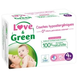Love & Green Couches Hypoallergéniques Taille 4+ 42 couches