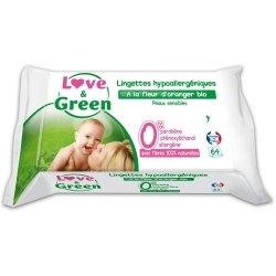 Love & Green Lingettes Hypoallergéniques à La Fleur d'Oranger Bio 64 pièces