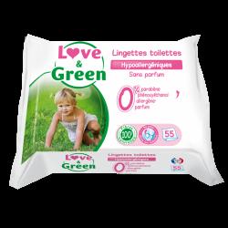 Love & Green Lingettes Hypoallergéniques Toilettes 55 pièces