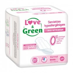 Love & Green Serviettes Hypoallergéniques Normal 14 pièces