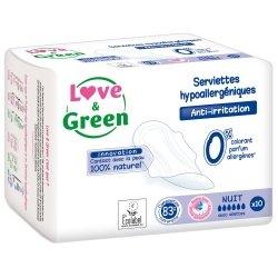 Love & Green Serviettes Hypoallergéniques Nuit 10 pièces