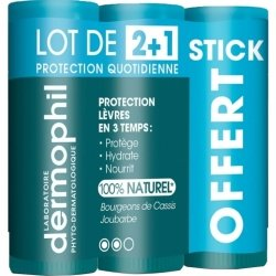 Dermophil Protection Lèvres en 3 Temps 12g Lot de 2 + 1 stick OFFERT