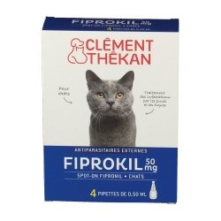 Clément Thékan Fiprokil 50mg Chat 4 pipettes