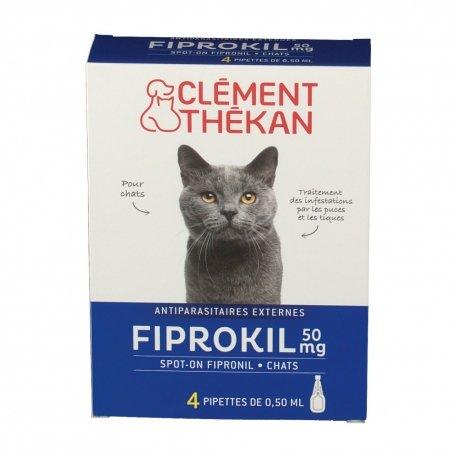 Clément Thékan Fiprokil 50mg Chat 4 pipettes
