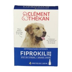 Clément Thékan Fiprokil 268mg Grands Chiens 4 pipettes