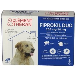 Clément Thékan Fiprokil Duo 268mg/80mg Chien 4 pipettes