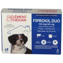 Clément Thékan Fiprokil Duo 134mg/40mg Chien 4 pipettes