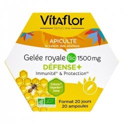 Vitaflor Gelée Royale Bio 1500mg Défense+ 20 ampoules