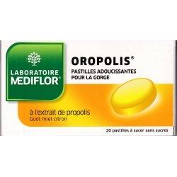Mediflor Oropolis Pastilles Miel Citron Sans Sucre 20 pastilles