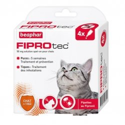 Beaphar Fiprotec Pipettes Antiparasitaires pour Chats 4x0,5ml