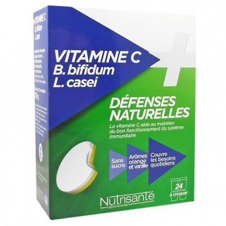 Nutrisanté Vitamine C + Probiotiques Défenses Naturelles 24 comprimés