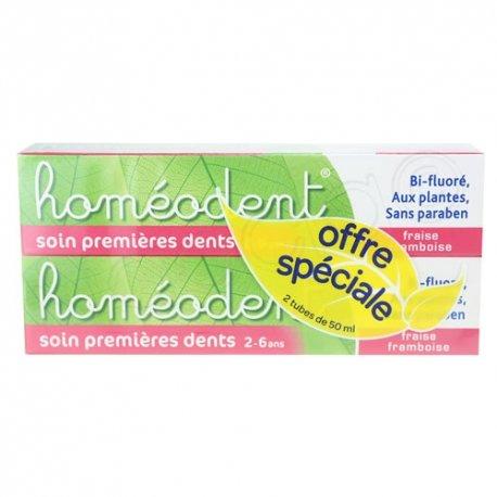 Homéodent Soin premières Dents 2-6 ans Fraise Framboise 2x50ml
