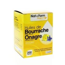 Nat & Form Huile de Bourrache Onagre 200 capsules