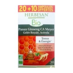 Herbesan Bio Panax Ginsang CA Meyer Gelée Royale Acérola 20 ampoules + 10 OFFERTES