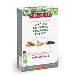 Super Diet Articulations Curcuma Curcumine Gingembre Pipérine Bio 20 ampoules de 15ml