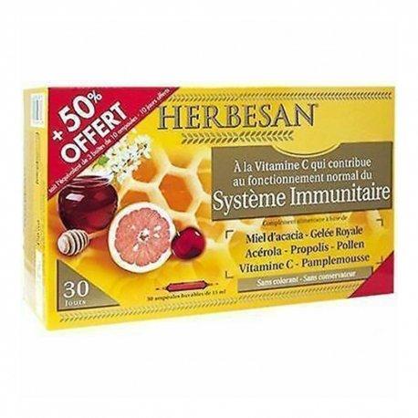Herbesan Bio Miel d\'Acacia Gelée Royale Système Immunitaire 30 ampoules de 15ml