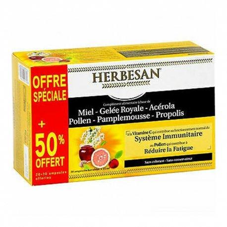 Herbesan Bio Miel Gelée Royale Système Immunitaire 30 ampoules de 15ml