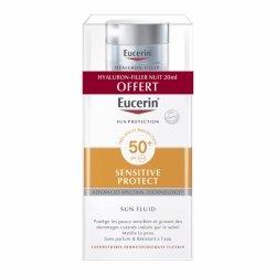 Eucerin Sensitive Protect Sun Fluid SPF50+ 50ml + Hyaluron-Filler Nuit 20ml OFFERT