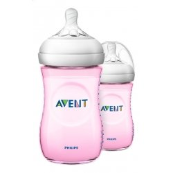 Avent Biberon Natural Transparent à Col Large Rose 2x260ml