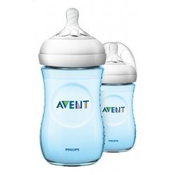 Avent Biberon Natural Transparent à Col Large Bleu 2x260ml