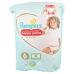 Pampers Premium Protection Couches-Culottes Taille 6 (15+ Kg) 16 pièces
