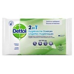 Dettol Lingettes Hygiéniques 2 en 1 12 lingettes