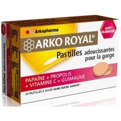 Arkoroyal propolis-papaïne gout framboise 24 pastilles à sucer