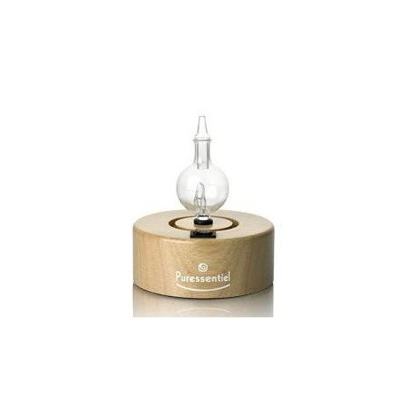 Puressentiel Diffuseur cylindre bois naturel 1 socle + 1 adapteur + 1 verrine