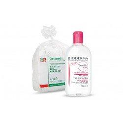 Bioderma Sensibio/Crealine h2o solution micellaire peaux sensibles 500ml + Cotopads piece de coton 8x10cm 200