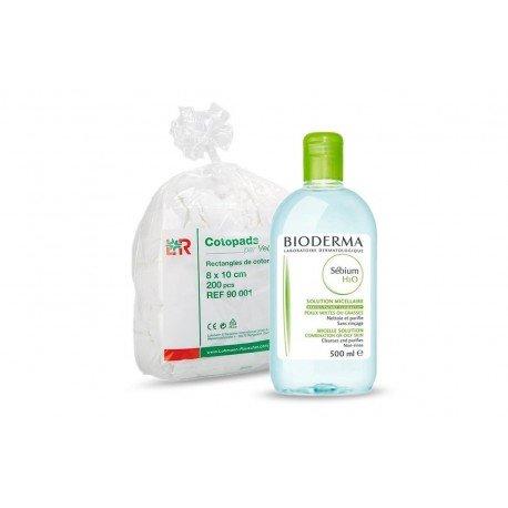 Bioderma Sébium solution micellaire 500ml + Cotopads piece de coton 8x10cm 200