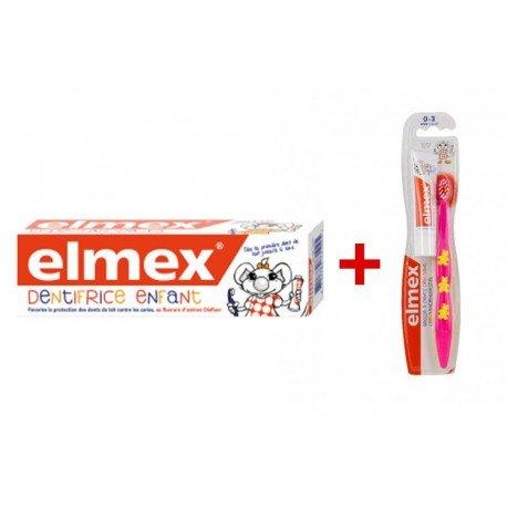 Elmex dentifrice enfant 0-6 ans 50ml + brosse à dents enfants 3-6 ans